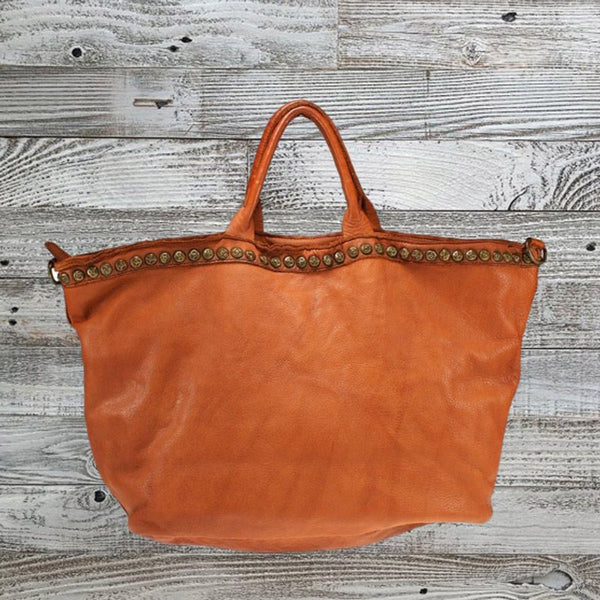 Distressed Leather Oversized Shopper Bag
