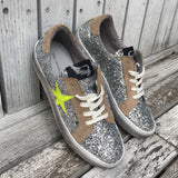 Distressed Silver Glitter Sneakers With Neon Star by No Store