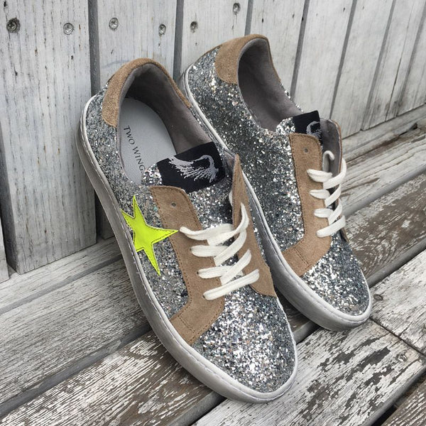 Distressed Silver Glitter Sneakers With Neon Star