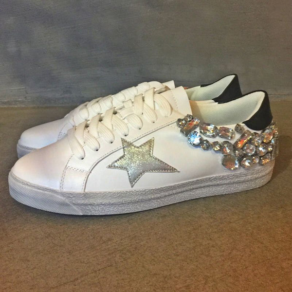 Distressed Sneakers With Silver Embellished Stones