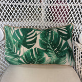 Tropical Cushion With Green Leafs by No Store