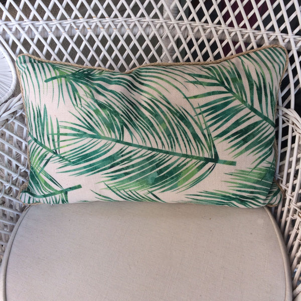 Tropical Cushion With Green Leafs