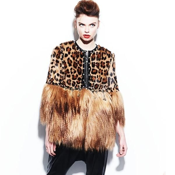 Handmade Leopard Coat With Faux Fur Sleeves by No Store