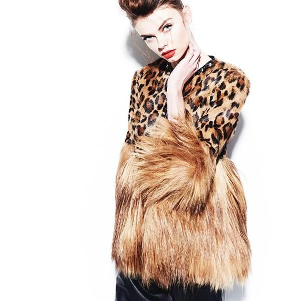 Halfty Leopard Coat With Fur Sleeves