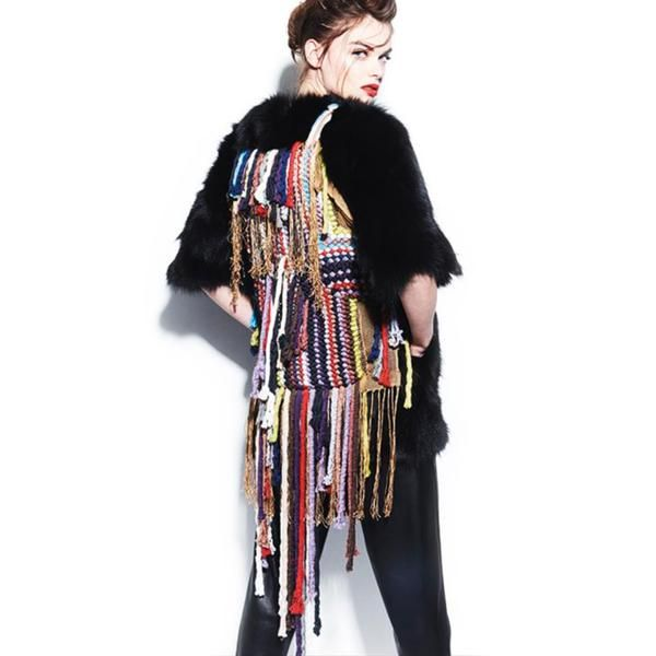 Handmade Black Fur Jacket With Long Colorful Ribbons