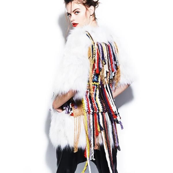 White Handmade Fur Jacket With Ribbons by No Store