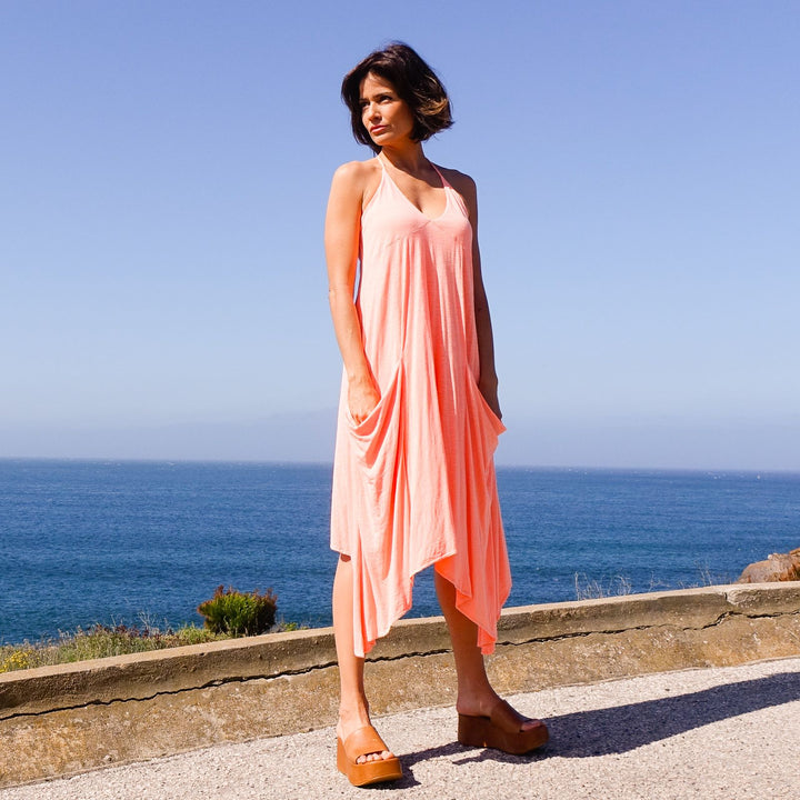 Ibiza Neon Pink Dress With Oversized Pockets By Bohemian Dreams