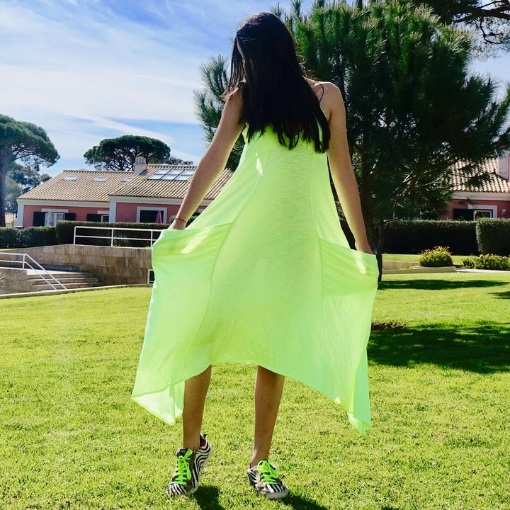 Ibiza Neon Green Dress With Oversized Pockets By Bohemian Dreams