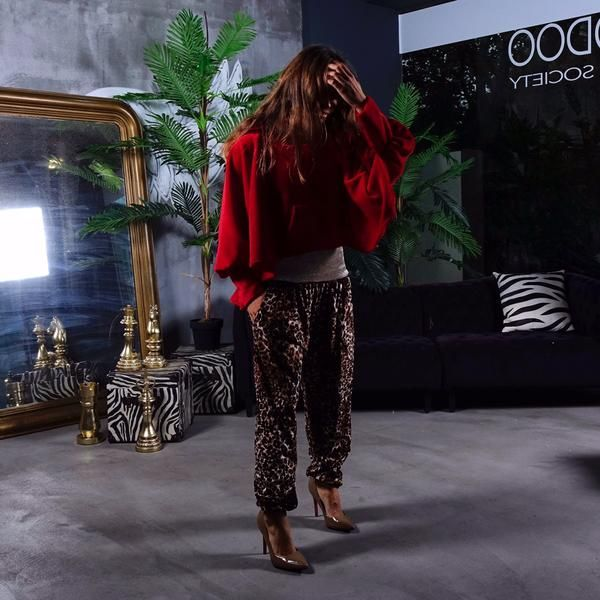 Loose Velvet Pants With Leopard Print by No Store