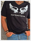 Men T Shirt With Two Wings Print And V Neck