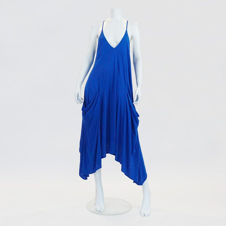 Ibiza Neon Blue Dress With Oversized Pockets By No Store