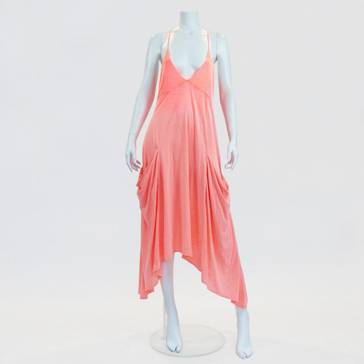 Ibiza Neon Pink Dress With Oversized Pockets By No Store