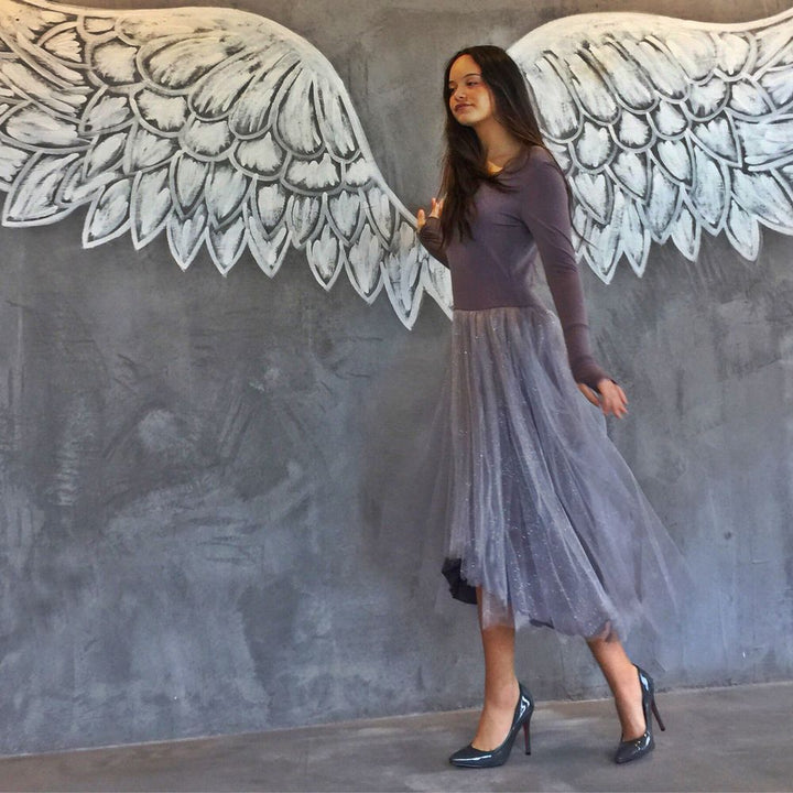 Pretty Ballerina Inspired Dress in Grey by NoStore