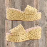 Raffia High Wedge Sandals by NO STORE