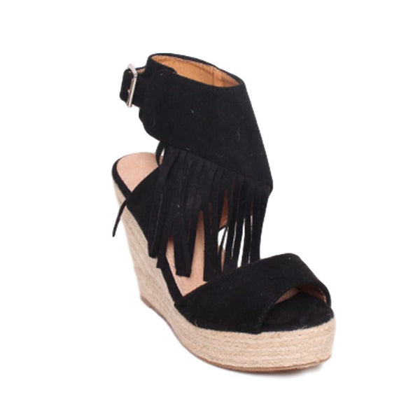 Black Fringe Wedge Sandals