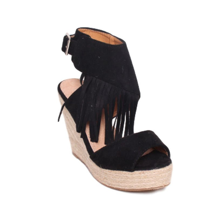 Black Fringe Wedge Sandals by NO STORE