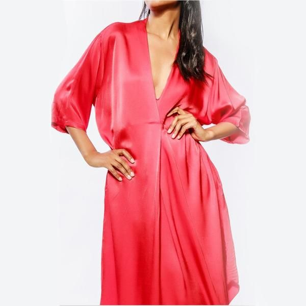 Oversized Dress In Silk With V Neck by Nostore