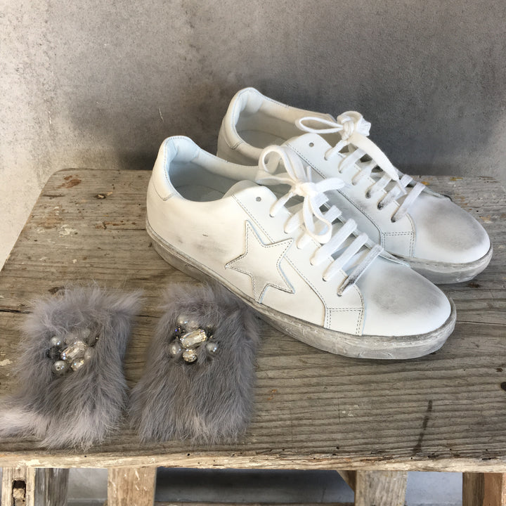 Star Sneakers With Detachable Faux Fur Clip By Two Wings Tattoo