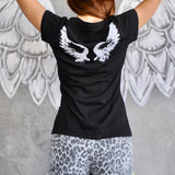 Two Wings Tattoo T-Shirt For Women With Short Sleeves