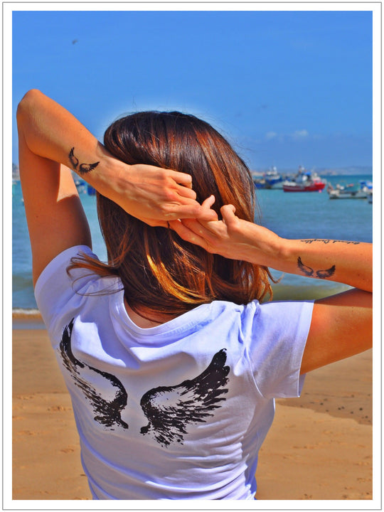 Two Wings Tattoo Women T Shirt With V Neck By No Store