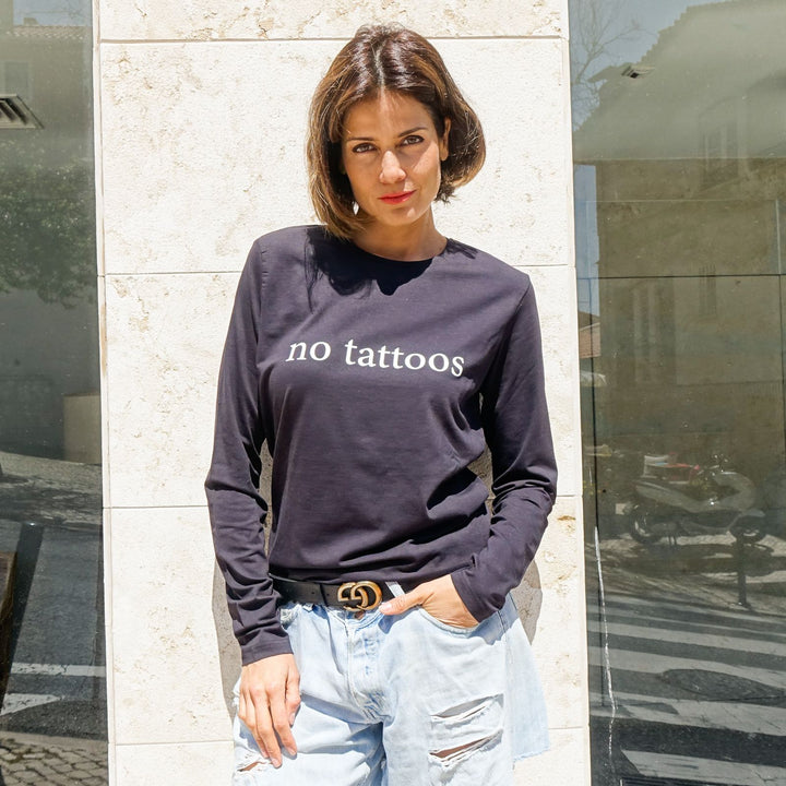 Unisex Long Sleeve T-Shirt With No Tattoos Statement By Two Wings Tattoo
