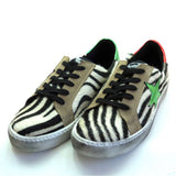 Zebra Distressed Sneakers With Colored Star by No Store