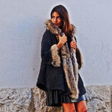 Hooded Faux Fur Knitted Wool Blend Comfy Coat by No Store