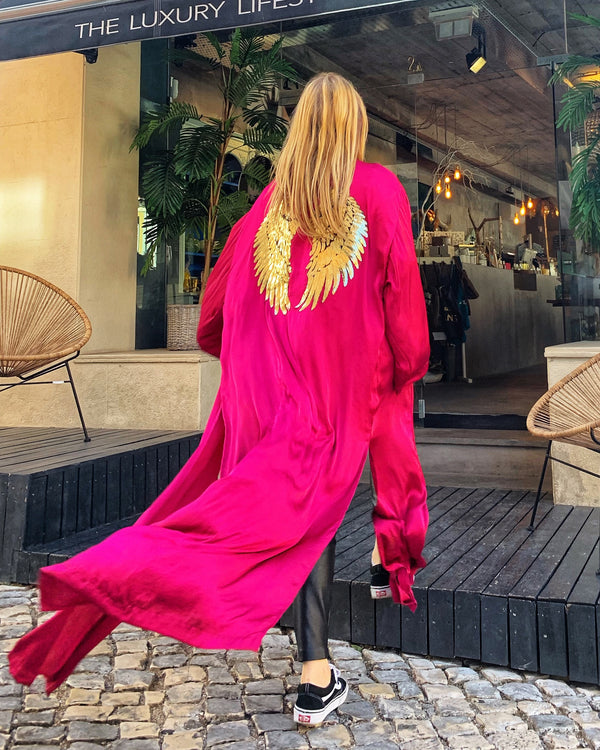 Pink Splash Kimono with Wings
