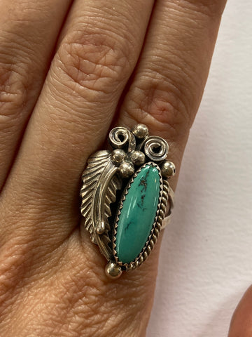 Feather and Turquoise Oval Ring