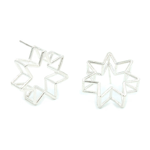 Crescent Star Hoop Studs - Brass