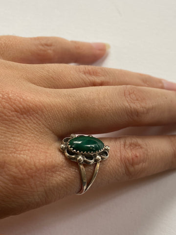 Double Malachite Ring with Floral Detail