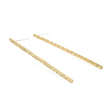 Hammered Bar Long Stud Earrings