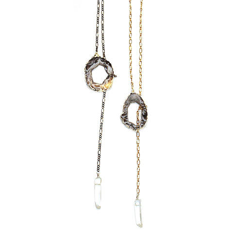 Star Crescent Necklace with Hanging Quartz