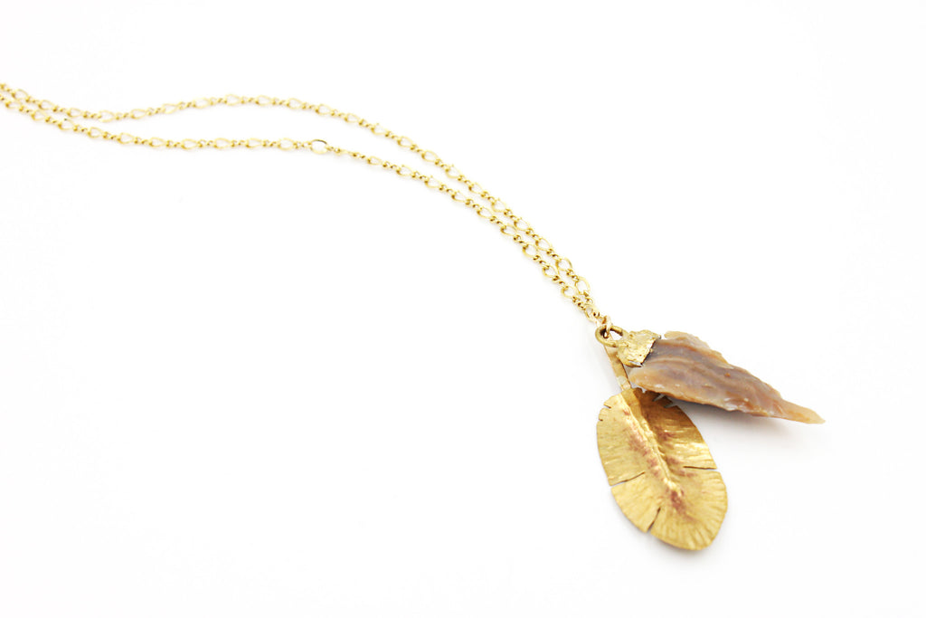Feather and Arrowhead Necklace