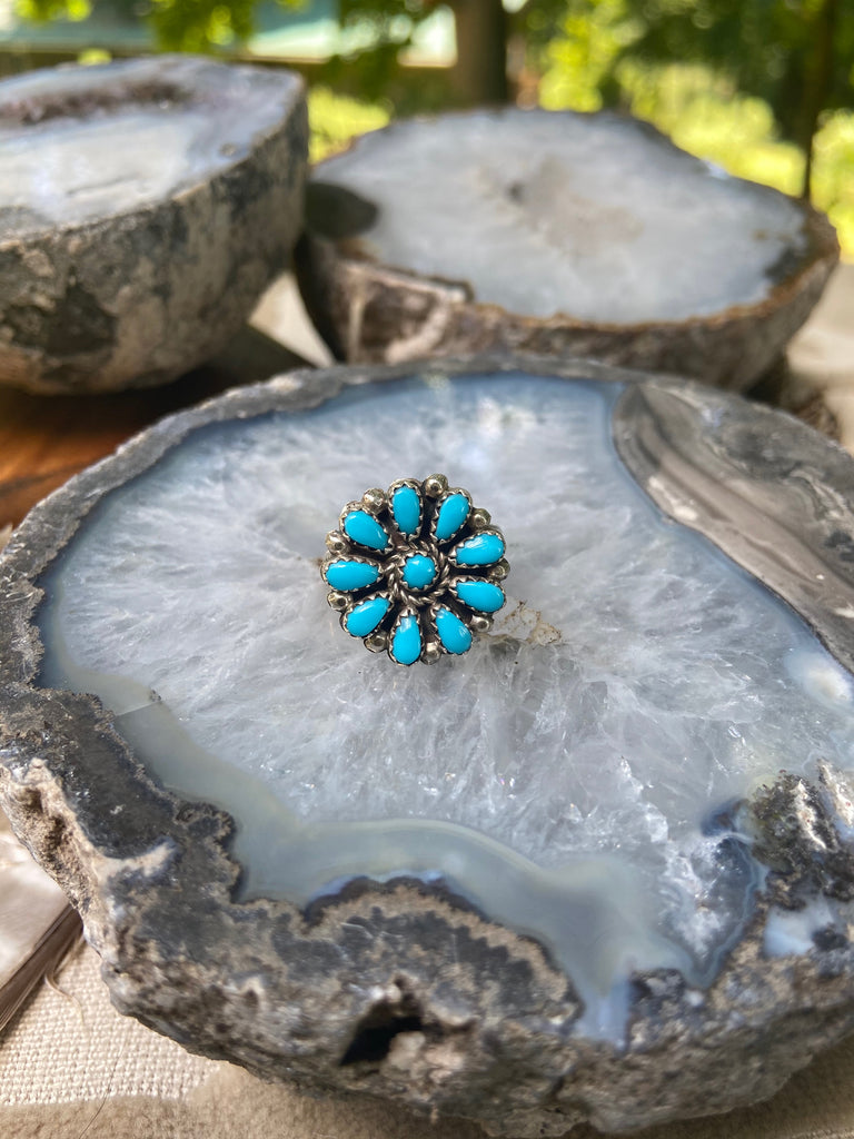 Vintage Petite Point Turquoise Blossom Ring