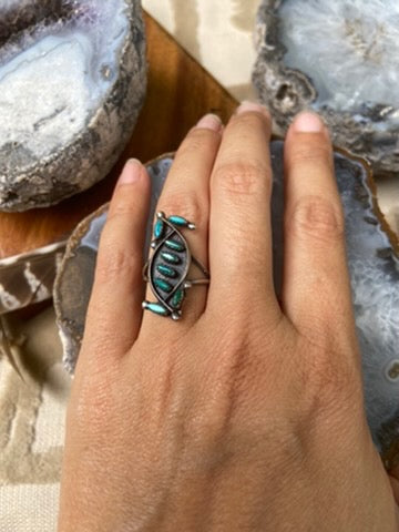 Beautiful Sterling Blossom & Turquoise Ring
