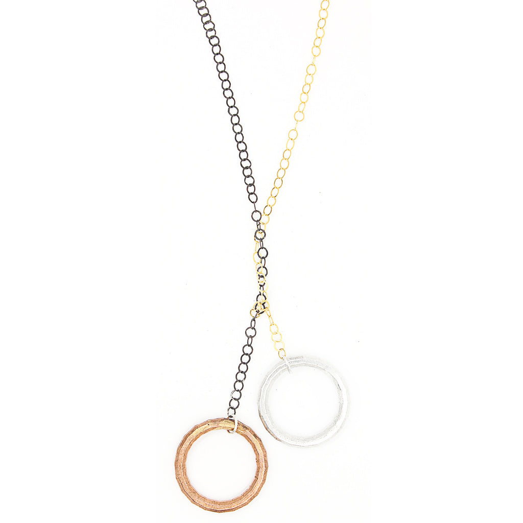 Faceted Double Circle Lariat