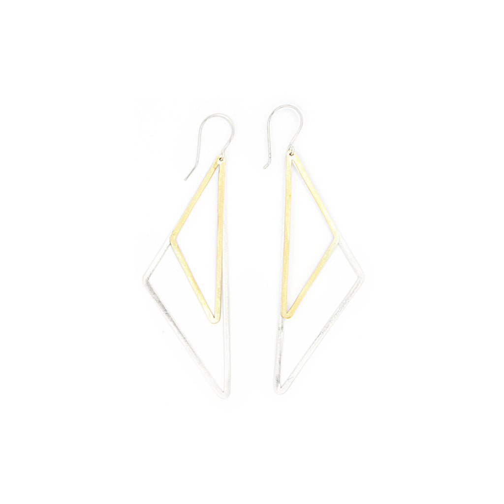Shape Earrings: Double Half Diamond