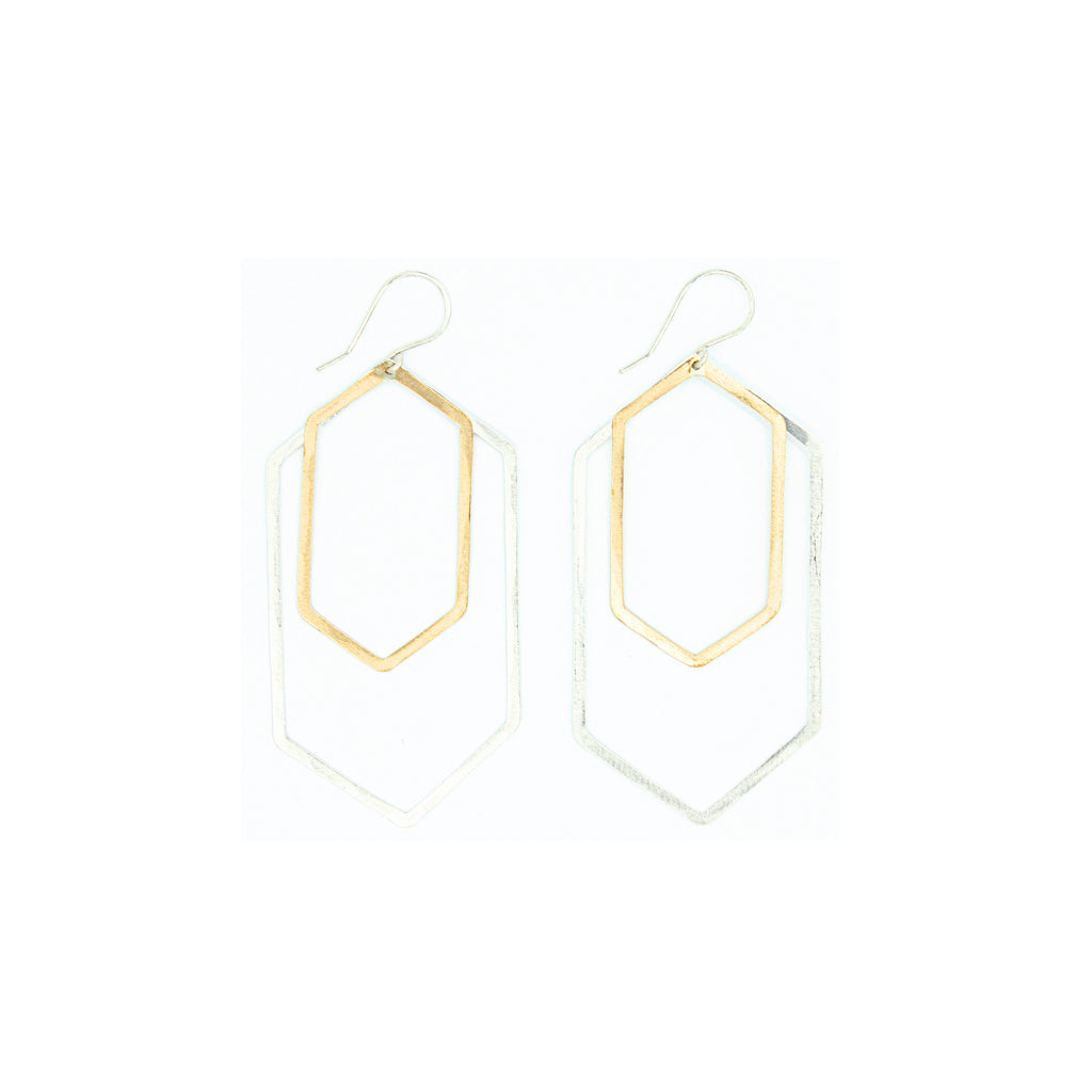 Shape Earrings: Double Extended Hexagon