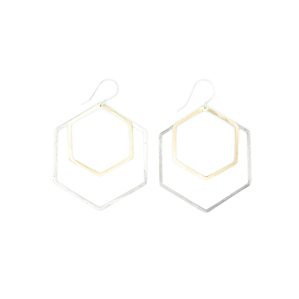 Shape Earrings: Double Hexagon