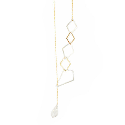 Hammered Bar Diamond Link Lariat Necklace