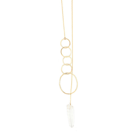 Hammered Bar Oval Lariat Necklace