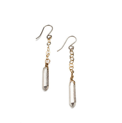 Metal Crystal Dangle Earrings