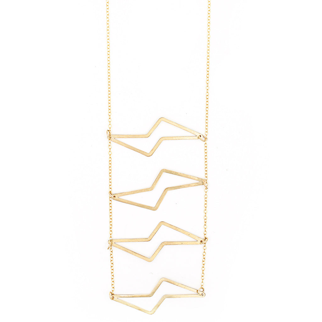 Hammered Stacked Bolt Necklace