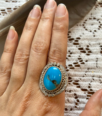 1940's Vintage Collector's Ring with Coral and Turquoise