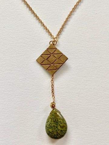 Mixed Metal Triple Triangle Pendant