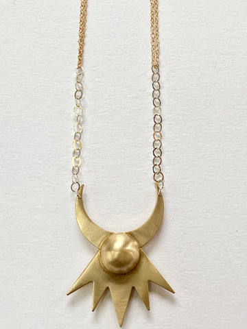 Star Crescent Mixed Metal Necklace