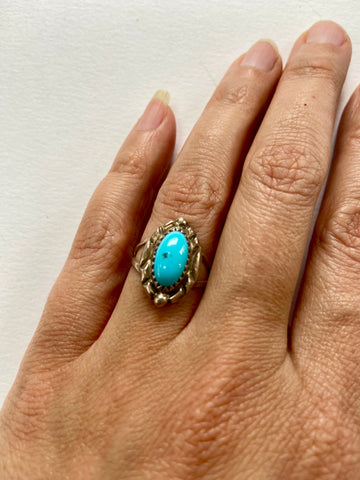 Super Pretty Turquoise Oval with Floral Sterling Detail