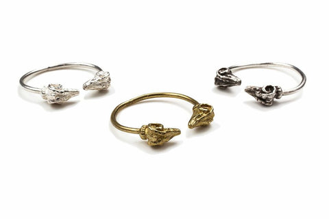 Twisted Horn Rams Head Rings
