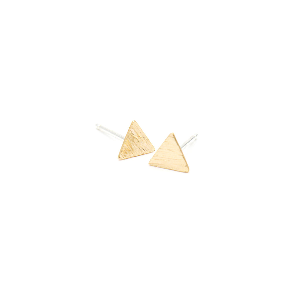 Hammered Triangle Stud Earrings